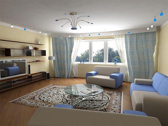 Дизайн гостиной в доме из древесины