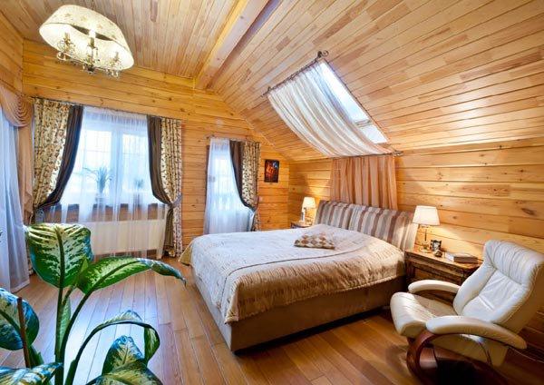 Оформление интерьера дома из клееного бруса