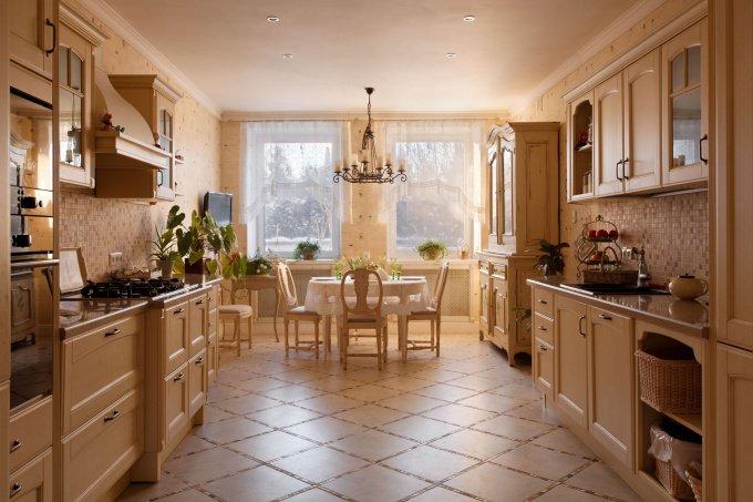 Дизайн кухни и столовой в загородном доме