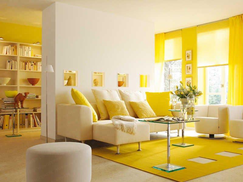 Интерьер помещения в желтом цвете