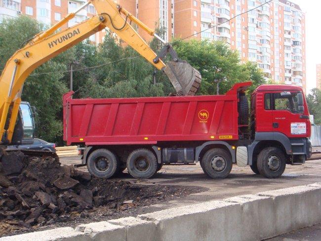 Выполнение земляных работ на стройплощадке