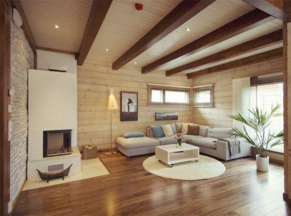 Потолки в доме из древесины