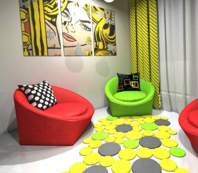 Красочный интерьер в стиле поп-арт